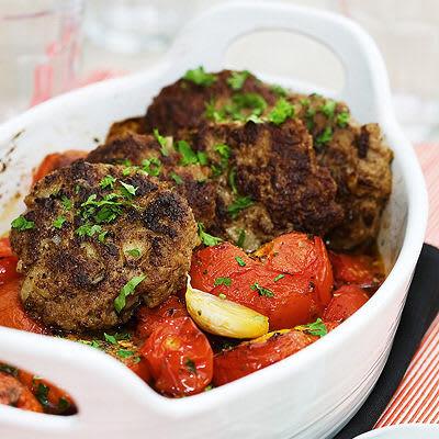Bild på Pannbiff med ugnsbakade tomater