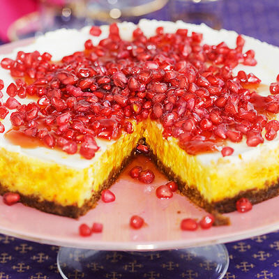 recept saffranscheesecake med pepparkaksbotten