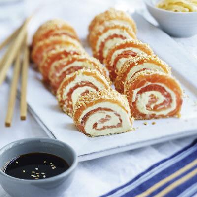Bild på Laxrulle med wasabi och cream cheese