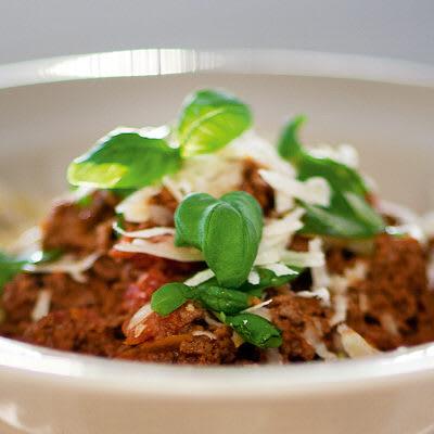 Köttfärssås och spagetti