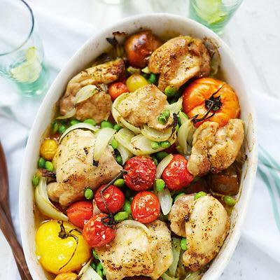 Bild på Kycklinglårfilé med ugnsbakade tomater och bönor