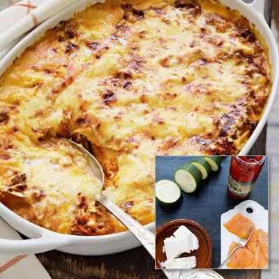 Bild på Lasagne med kallrökt lax, grillad paprika och fetaost