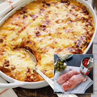 Bild på Lasagne med kyckling, tomat, gröna oliver och halloumi