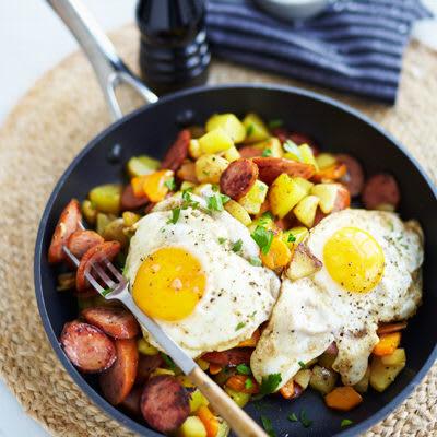 Bild på Rotfruktspytt med chorizo och stekt ägg