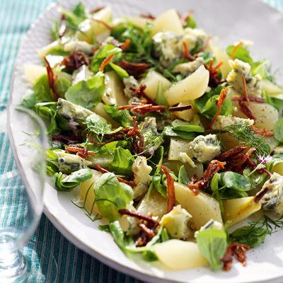 Bild på Karamelliserad sparrispotatis, kokta päron och ädelost