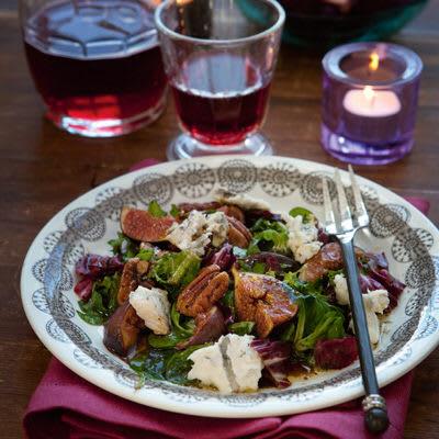 Bild på Sallad med gorgonzola och smörstekta fikon