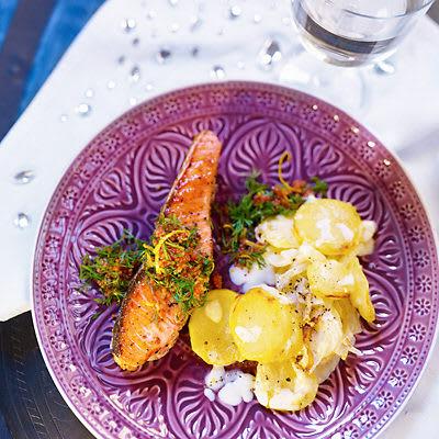Bild på Lax med potatis- och fänkålsgratäng