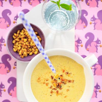 Bild på Rostad majssoppa med quesadilla