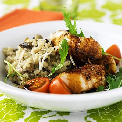 Bild på Baconrullad kycklingfilé med svamprisotto
