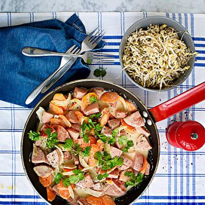 Bild på Korv Stroganoff med grön curry
