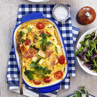 omelett i ugn med skinka och ost