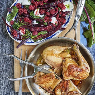 Bild på Betor med mozzarella, hallon och ugnsstekt kyckling
