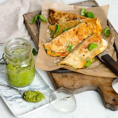 Bild på Quesadilla med sötpotatis-spread och broccolipesto