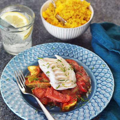 Bild på Ångad torsk med ratatouille och gult ris