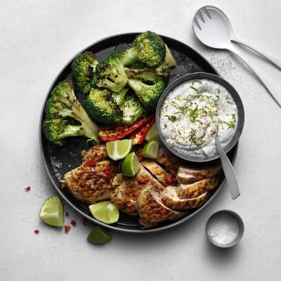 Bild på Grillad broccoli med kycklingfilé