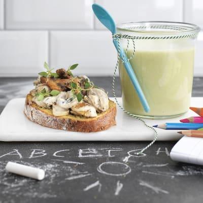 Bild på Blomkål- och purjolökssoppa med svampmacka