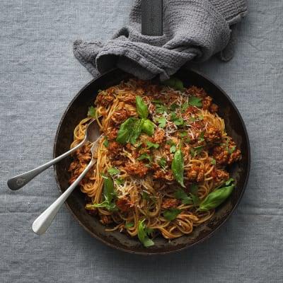 Bild på Spagetti med kycklingfärssås