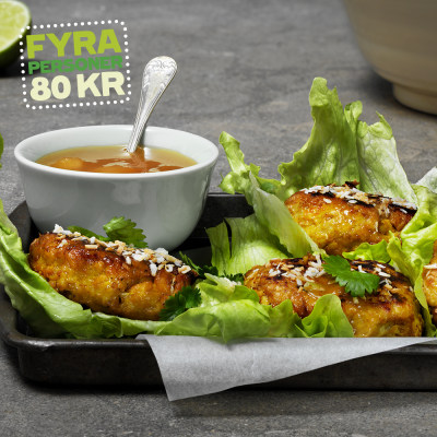 Bild på Chicken patties i salladsblad