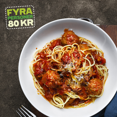 Bild på Lotta Lundgren - Pestofrikadeller i tomatsås