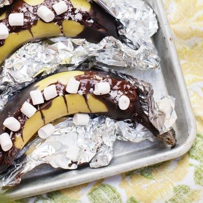 Bild på Foliepaket med banan, choklad och marshmallows