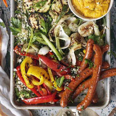 Bild på Blomkålstabbouleh med rostade grönsaker och lammkorv