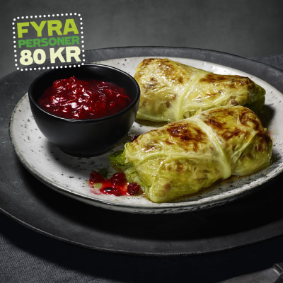 Bild på Kåldolmar med savojkål, röda linser och fetaost
