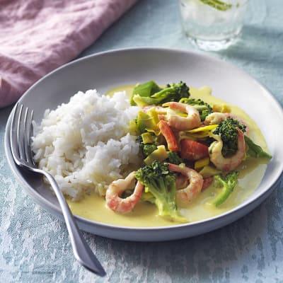 Bild på Curryräkor med ris och grönsaker