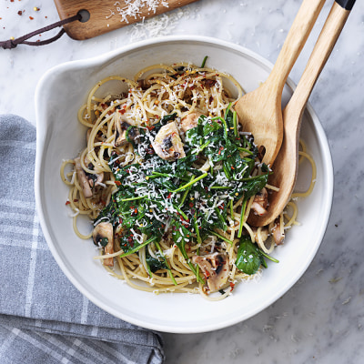 Bild på Spagetti med spenat och champinjoner