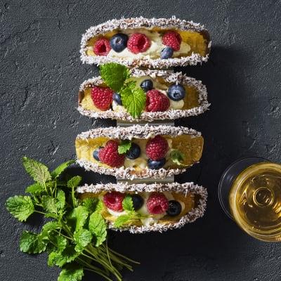Bild på Desserttaco med mascarponekräm och bär