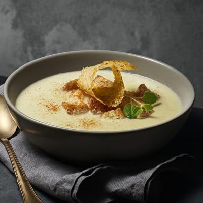 Bild på Sparrissoppa med ostflarn och krutonger