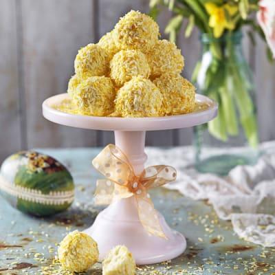 Bild på Kokosbollar med vit choklad och lime