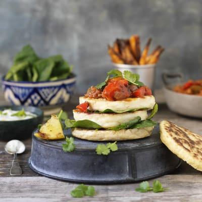 Bild på Halloumiburgare med mustig salsa
