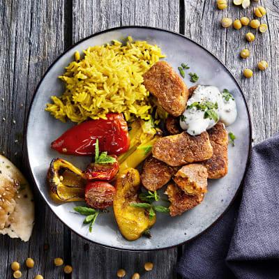 Bild på Ärtbiff tandoori med ugnsgrönsaker och kryddris