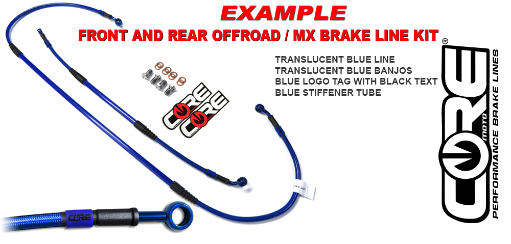 MX Brake Lines Combo Front and Rear Fits Honda CR80R 1998-2002 CR85R 2003-2007 Small Wheel Core Moto Stainless Steel