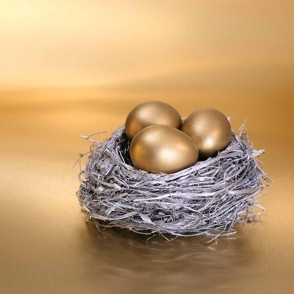 3 golden eggs sitting in a birds nest