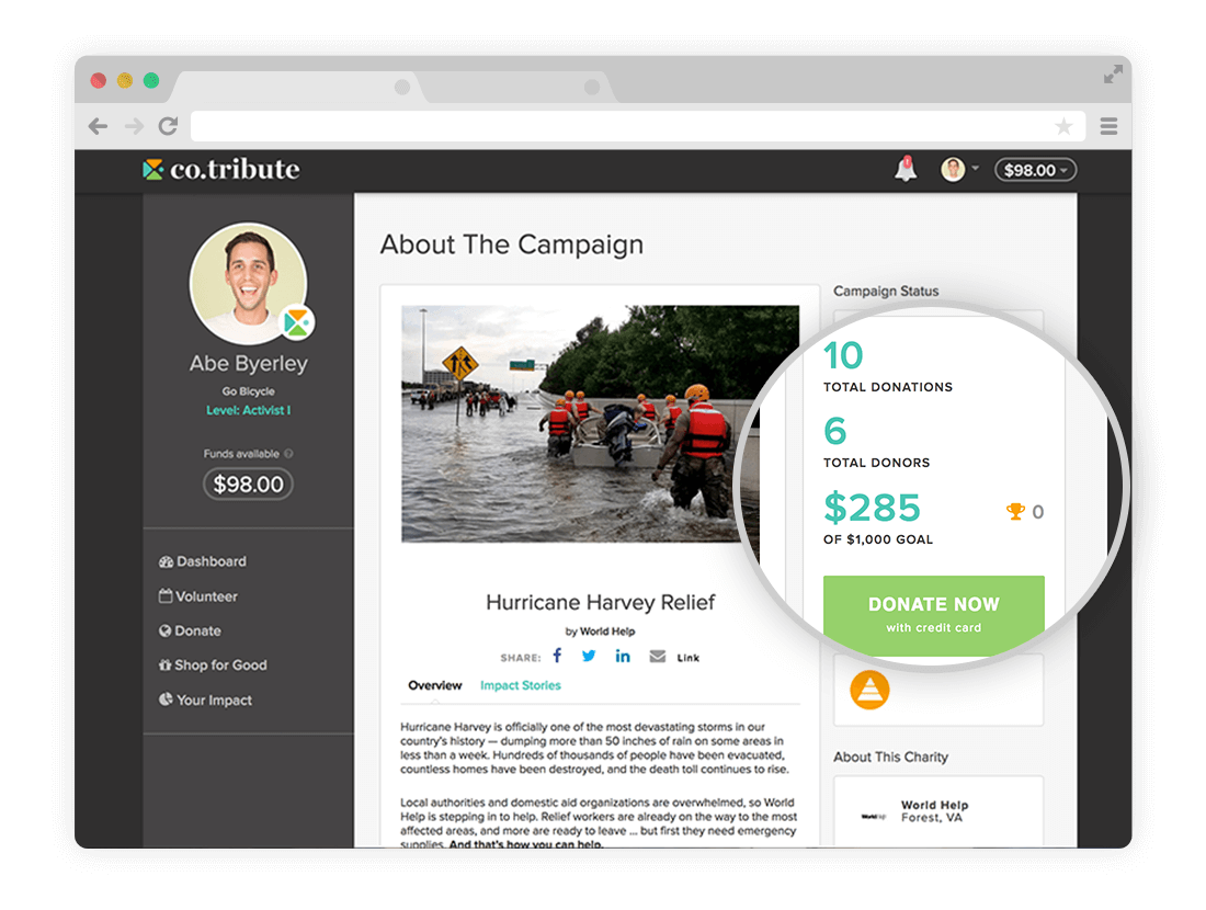 Campaign pages on the Co.tribute platform showcase the goal, total donors, and total donations the campaign has recieved.