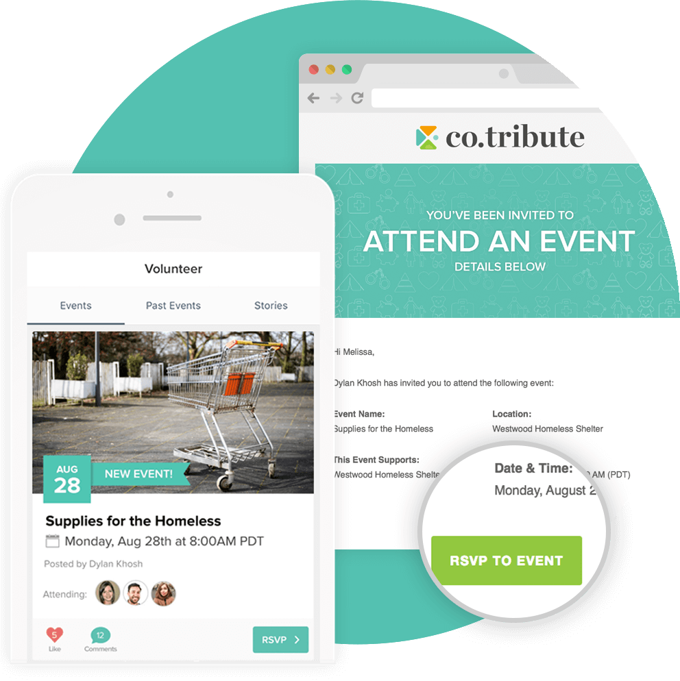 Invitiations can be sent to members where they can easily RSVP to your event.