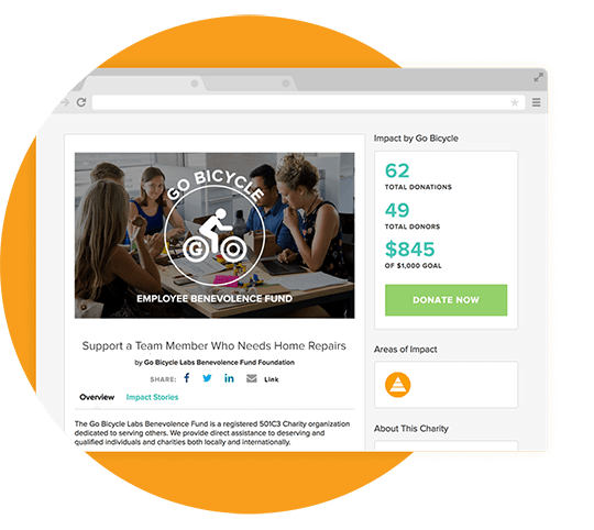 Raise support for employees who are in need and use Community Boards to show fellow employees how much has been raised to help their cause.
