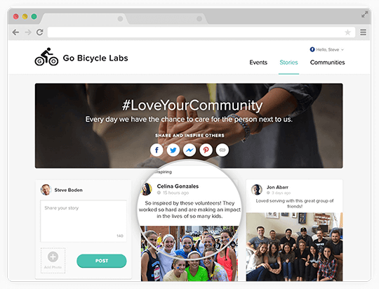Community Boards give you and your team the ability to combine all your inspiring photos, stories, and events on one organized platform.
