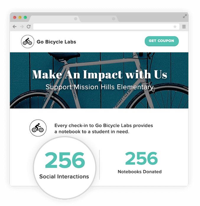 Encourage your customers to support charities and local causes every time they visit your store or buy your products. Weekly Leaderboards will show the impact you've made.