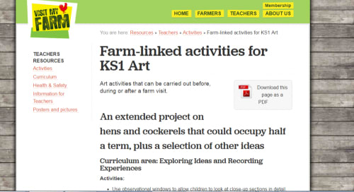 Farm-linked activities for KS1 Art