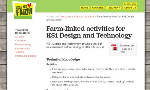 Farm-linked activities for KS1 Design & Technology