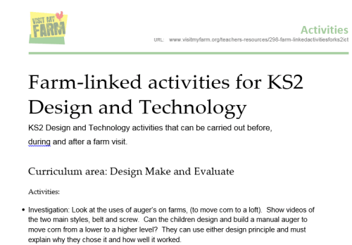 Farm-linked activities for KS2 Design and Technology