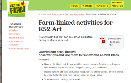 Farm-linked activities for KS2 Art