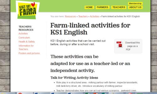 Farm-linked activities for KS1 English