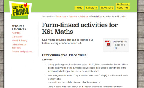 Farm-linked activities for KS1 Maths