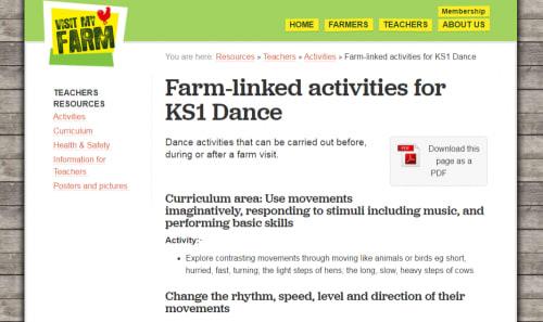 Farm-linked activities for KS1 Dance