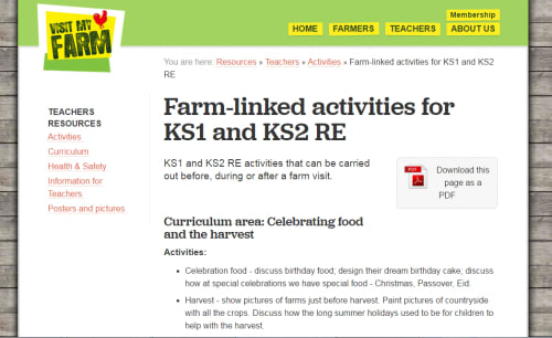 Farm-linked activities for KS1 and KS2 RE