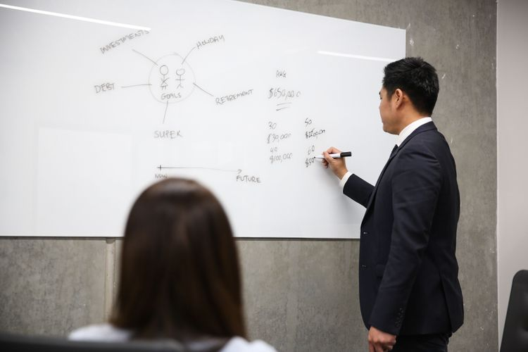Financial planner drawing on whiteboard infront of client in office