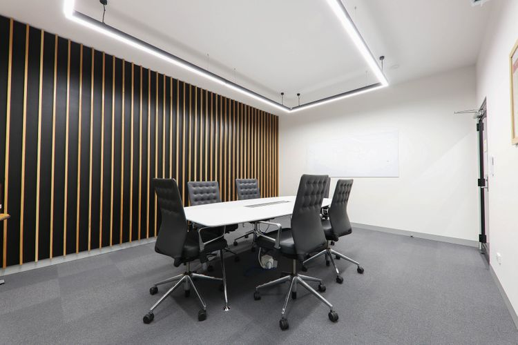 Photo of main office and meeting room boardroom wide table and large room